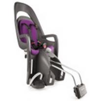 HAMAX - Велокресло детское заднее Caress на подседельную трубу серо-белое, фиолетовая подкладка
