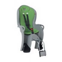 Велокресло детское  заднее Kiss на подседельную трубу серое-зеленая подкладка