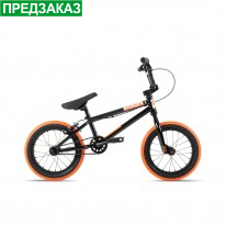 "Велосипед 14"" Stolen AGENT 14.60"" 2021 BLACK W/ DARK NEON ORANGE TIRES"