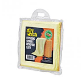 Губка и салфетка для чистки WELDTITE Dirtwash Expanding Sponge and Microfibre Cloth Фото №1